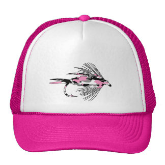Pink Camo Fly Fishing Lure Mesh Hats