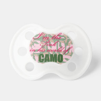 Pink Camo: I'm the pink in his world of camo Pacifier
