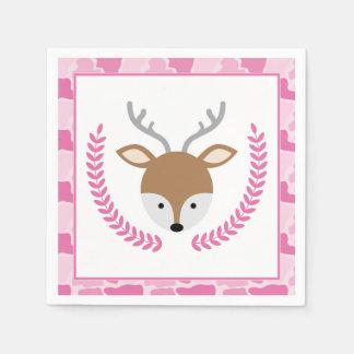 Pink Camo Little Deer Baby Shower Napkins