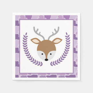 Pink Camo Little Deer Baby Shower Napkins Disposable Napkins