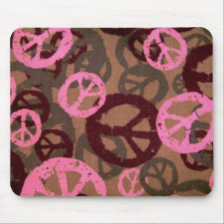 pink camo look Peace Signs Mousepad