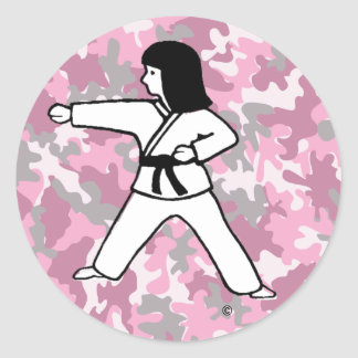 Pink Camo Martial Arts Girl Stickers
