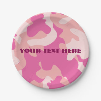 Pink Camo Paper Plate 7 Inch Paper Plate