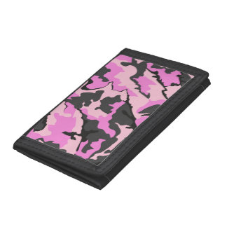 Pink Camo, TriFold Nylon Wallet