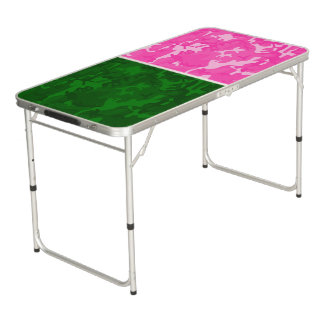 Pink Camo vs Green Camo Beer Pong Table