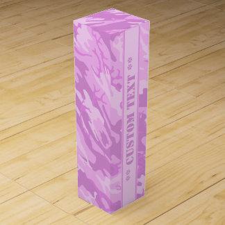 Pink Camo w/ Custom Text Wine Gift Box