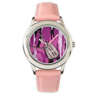 Pink Camo w/ Dog tags Watch