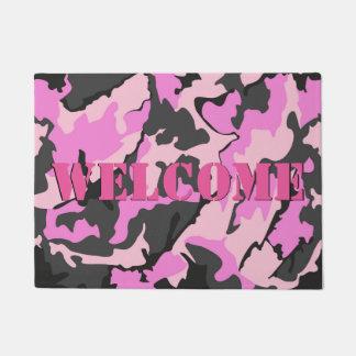"""Pink Camo WELCOME Door Mat, 18"""" x 24"""" Doormat"""