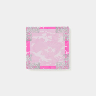 Pink Camo with Faux Glitter Post-it Notes