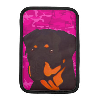 Pink Camo with Rottweiler iPad Mini Sleeves