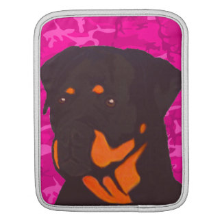 Pink Camo with Rottweiler iPad Sleeves