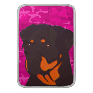 Pink Camo with Rottweiler MacBook Sleeves