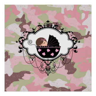 Pink Camouflage Baby Girl Wall Art