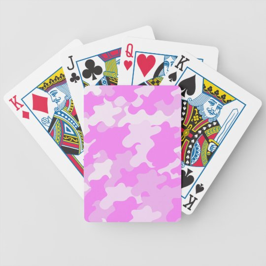 Pink Camouflage Bicycle Playing Cards