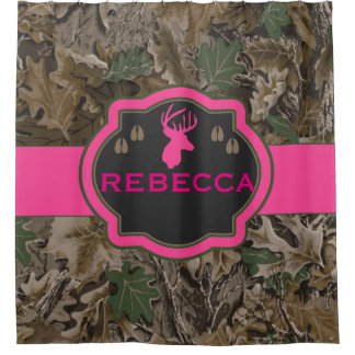 Pink Camouflage Buck Camouflage Shower Curtain