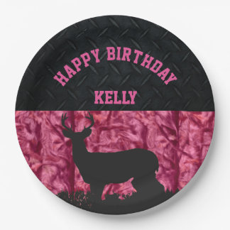 Pink Camouflage Deer Hunting Country Birthday Paper Plate