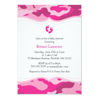 Pink Camouflage Girl Baby Shower Invitation
