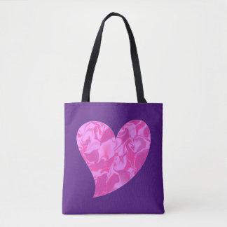 Pink Camouflage Lopsided Heart Tote Bag