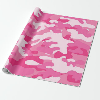 Pink Camouflage Matte Wrapping Paper