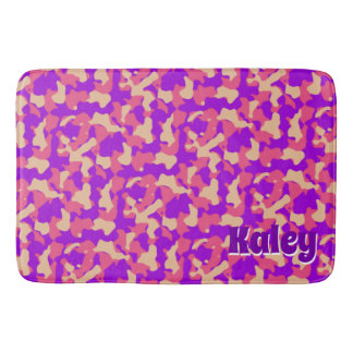 Pink Camouflage Monogram Name Bath Mat
