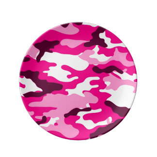 Pink Camouflage Pattern Plate