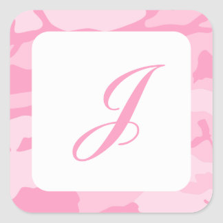 Pink Camouflage Pattern Square Sticker