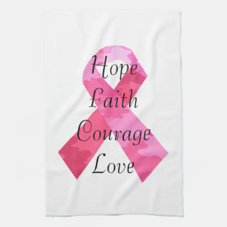 Pink Camouflage Ribbon Faith Towel