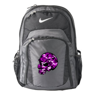 Pink camouflage skull head graffiti tottoo art backpack