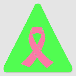 Pink Cancer Awareness Ribbon Triangle Sticker