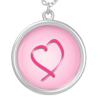 Pink Cancer Heart Necklace