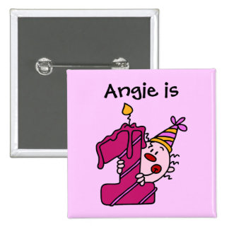 Pink Candle Clown 1st  Birthday Button