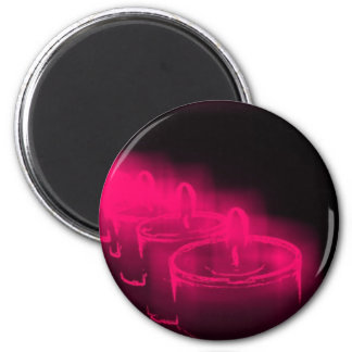 Pink candles 2 inch round magnet