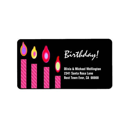 Pink Candles Birthday Label