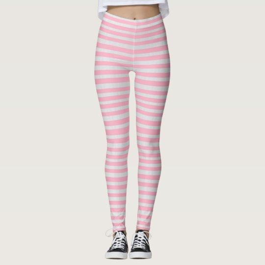 pink candy cane stripe Woman's Leggings, Yoga Leggings