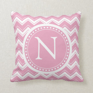 Pink Candy Chevron Girly ZigZag Monogram Throw Pillow