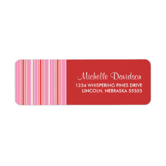 Pink Candy Stripe Customized Return Address Labels