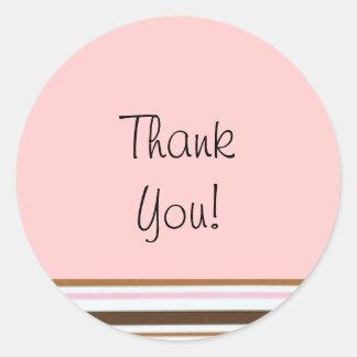 Pink Candy Stripe Thank You Label Round Sticker