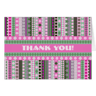 Pink Candy ZigZag Stripes Thank You Card