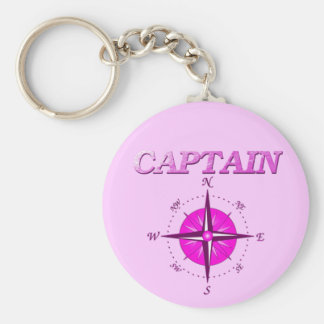 Pink Captain And Compass Rose Key Chains