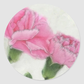 Pink Carnations 3 Classic Round Sticker