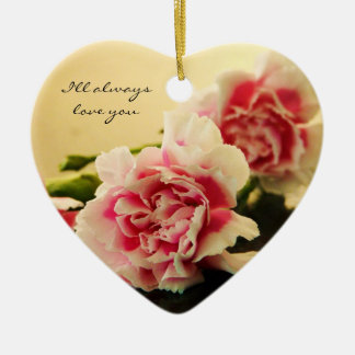 Pink Carnations Ceramic Ornament