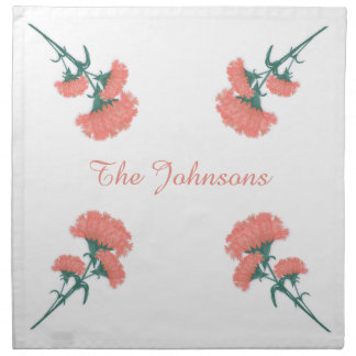 Pink Carnations Fabric Square Napkin
