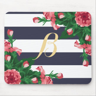 Pink Carnations & Navy Blue Stripes Monogram Mouse Pad