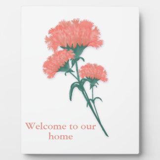 Pink Carnations Welcome Plaque