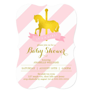 Pink Carousel Horse Baby Shower Card