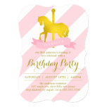 "Pink Carousel Horse Birthday Party 5"" X 7"" Invitation Card"