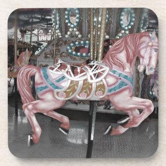 Pink carousel horse coaster