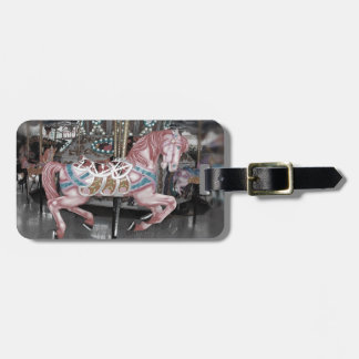 Pink carousel horse luggage tag