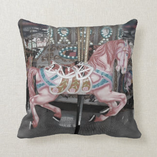 Pink carousel horse throw pillow
