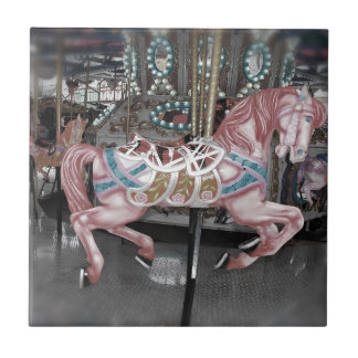 Pink carousel horse tile